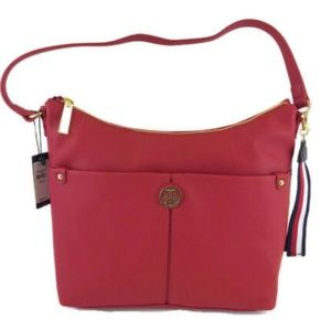 AUTHENTIC TOMMY HILFIGER Red Imitation Leather